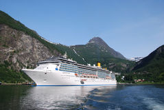 Large passenger ship in Geiranger Stock Photos