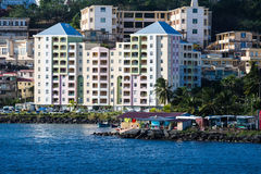 Large Pastel Colored Hotel on Coast of Martinique Stock Images