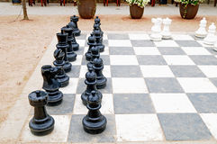 Large patio chess set. Image of a large patio chess set Stock Photos