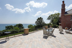 Large patio overlooking lake Stock Image