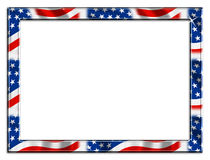 Large Patriotic Frame Border. Patriotic red white and blue border beveled frame on white background royalty free illustration