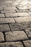 Large paving. Large road pavement in the sunset light Royalty Free Stock Images