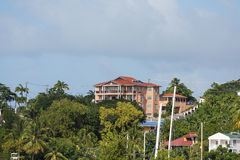 Large Peach Plaster Resort on Tropical Hill Stock Images