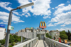 Large pedestrian viaduct in Burgas: lift to McDonald's, Bulgaria Stock Photography