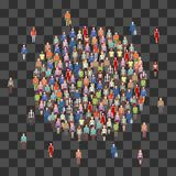 Large people crowd in circle shape. Society, people community on transparent background vector illustration