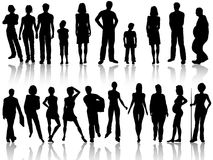 Large people silhouette collection Royalty Free Stock Photography
