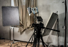 Large photo studio with lighting equipmen Royalty Free Stock Photography