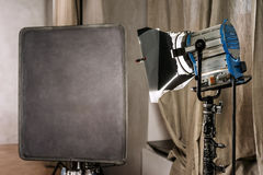 Large photo studio with old lighting equipmen Stock Photography