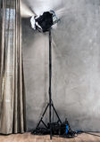 Large photo studio with old lighting equipmen Royalty Free Stock Photos