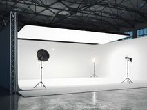 Photographic studio with several light sources. 3d rendering Royalty Free Stock Photo