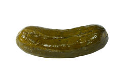 Large Pickle. Large dill pickle close-up isolated silhouette with a clipping path on white background Royalty Free Stock Photo