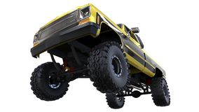 Large pickup truck off-road. Full - training. Highly raised suspension. Huge wheels with spikes for rocks and mud. 3d illustration Stock Photography