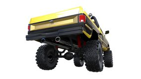 Large pickup truck off-road. Full - training. Highly raised suspension. Huge wheels with spikes for rocks and mud. 3d illustration Stock Image