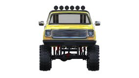 Large pickup truck off-road. Full - training. Highly raised suspension. Huge wheels with spikes for rocks and mud. 3d illustration Royalty Free Stock Photo