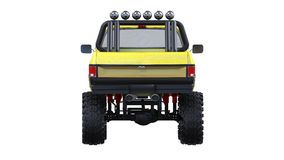 Large pickup truck off-road. Full - training. Highly raised suspension. Huge wheels with spikes for rocks and mud. 3d illustration Royalty Free Stock Image