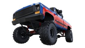 Large pickup truck off-road. Full - training. Highly raised suspension. Huge wheels with spikes for rocks and mud. 3d illustration. Large pickup truck off-road Stock Image