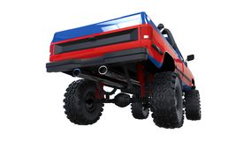Large pickup truck off-road. Full - training. Highly raised suspension. Huge wheels with spikes for rocks and mud. 3d illustration. Large pickup truck off-road Royalty Free Stock Images