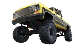 Large pickup truck off-road. Full - training. Highly raised suspension. Huge wheels with spikes for rocks and mud. 3d illustration. Large pickup truck off-road Royalty Free Stock Photo
