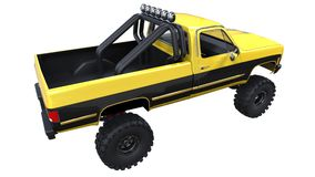 Large pickup truck off-road. Full - training. Highly raised suspension. Huge wheels with spikes for rocks and mud. 3d illustration. Large pickup truck off-road Stock Photos