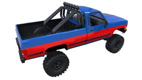 Large pickup truck off-road. Full - training. Highly raised suspension. Huge wheels with spikes for rocks and mud. 3d illustration. Large pickup truck off-road Royalty Free Stock Photography