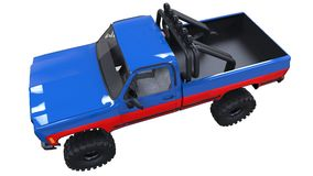Large pickup truck off-road. Full - training. Highly raised suspension. Huge wheels with spikes for rocks and mud. 3d illustration. Large pickup truck off-road Royalty Free Stock Photos