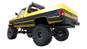 Large pickup truck off-road. Full - training. Highly raised suspension. Huge wheels with spikes for rocks and mud. 3d illustration. Large pickup truck off-road Royalty Free Stock Image