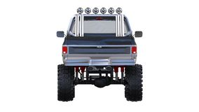 Large pickup truck off-road. Full - training. Highly raised suspension. Huge wheels with spikes for rocks and mud. 3d illustration. Large pickup truck off-road Stock Images