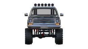 Large pickup truck off-road. Full - training. Highly raised suspension. Huge wheels with spikes for rocks and mud. 3d illustration Stock Photos