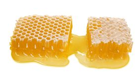 Large piece of bee honeycomb with liquid honey isolated on white background, natural healthy food, close-up royalty free stock photography