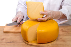 Large piece of cheese head Stock Photos