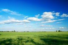 Large piece of land and blue cloudy sky Royalty Free Stock Photos