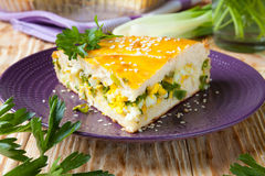 Large piece of of the pie with herbs and eggs Royalty Free Stock Images