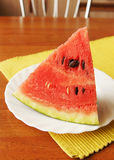 Large piece of ripe watermelon on the plate Stock Image