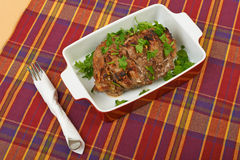 A large piece of veal pork cooked Royalty Free Stock Photo