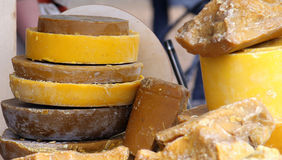 Large pieces of beeswax. Closeup royalty free stock photography