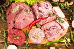 Large pieces of meat ready for cooking Royalty Free Stock Photography