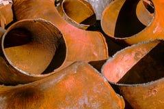 Large pieces of metal bent tubes closeup Stock Image