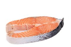 Large pieces of raw salmon. Stock Photography