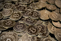 Large pile of Bitcoins Stock Photos