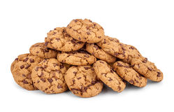 A large pile of chocolate chip cookies royalty free stock photo