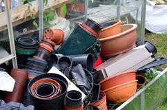Large pile of empty pots Stock Images