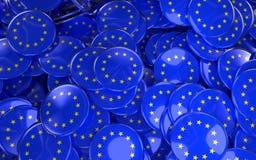Large pile of EU Stars Badges. Royalty Free Stock Image