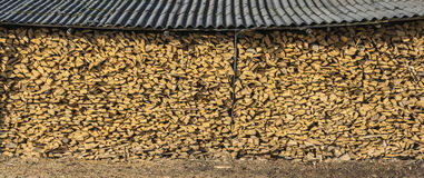 A large pile of firewood shed. Big pile of dry wood neatly folded under a canopy Royalty Free Stock Images