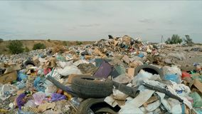 Large Pile Of Garbage Outside City In Ukraine stock footage