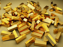Large pile of gold bars. 3D illustration Stock Image