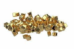 Large pile of gold bars in the shape of boxes, 3D illustration isolated on white background. Conceptual depiction of. Success, wealth, and prosperity royalty free illustration