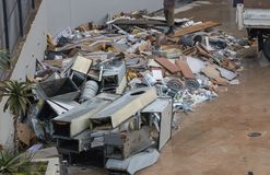 Large pile of reavation rubble stock photos