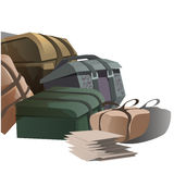 Large pile of road suitcases in cartoon style Stock Photo