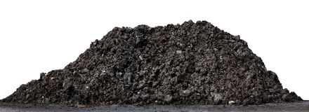 A large pile of thick Dark brown black, Wet brown soil mountain shape, Clay pile soil for Planting isolated on white Background Stock Photography