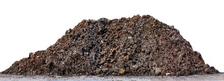 A large pile of thick Dark brown black, Wet brown soil mountain shape, Clay pile soil for Planting isolated on white Background. Large pile of thick Dark brown stock image